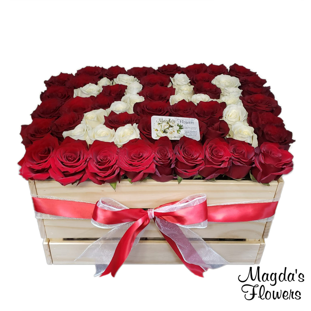 Birthday Rose Crate - Tall Red Roses - Order Flowers Online - Salinas Florist, Local Delivery - Magda's Flowers
