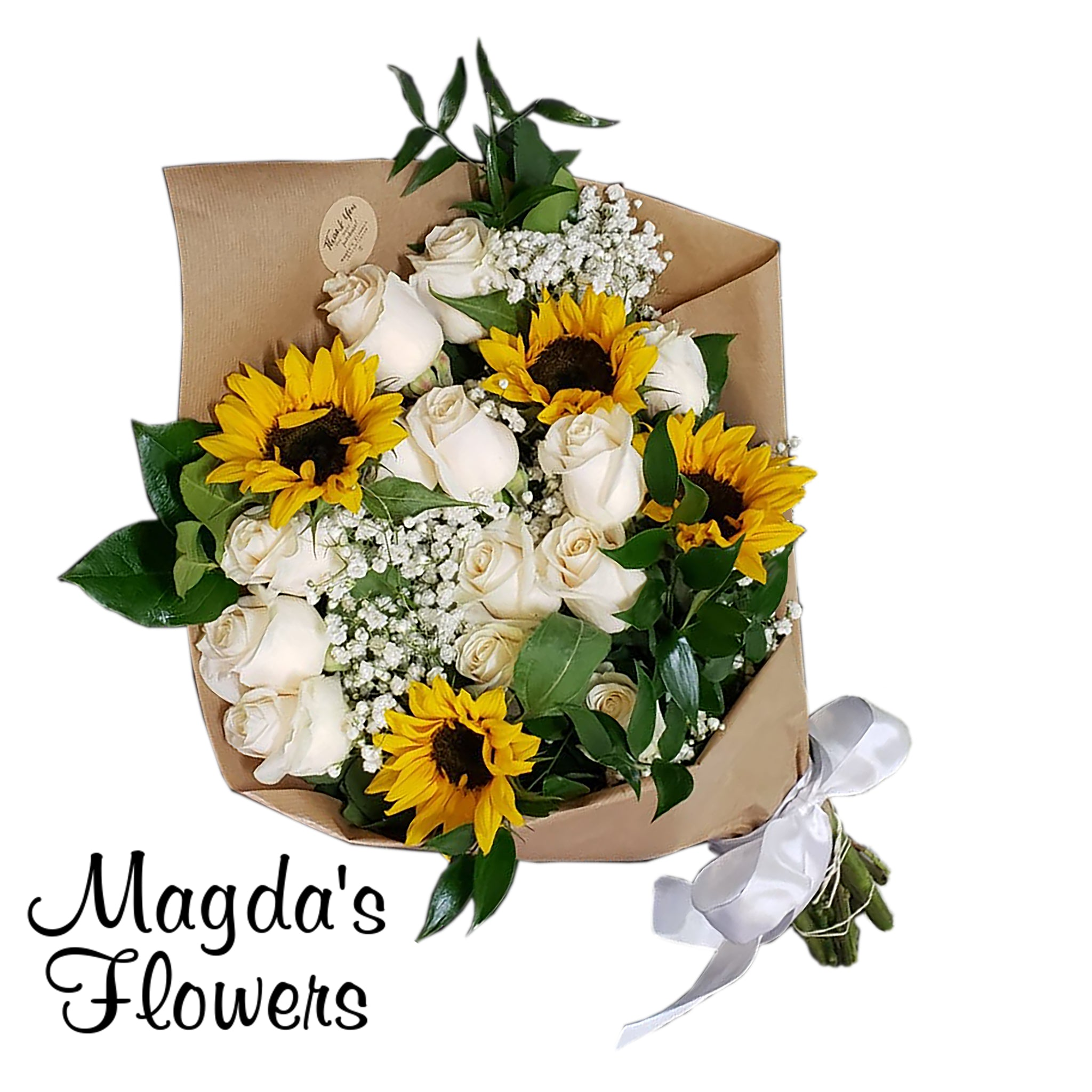 Sunflower and white roses in an elegegant floral bouquet - Magdas Flowers - Local florist in Salinas. Online Order for local delivery.