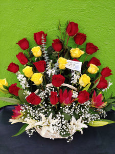 V3 - 24 Yellow and Red Roses in Basket