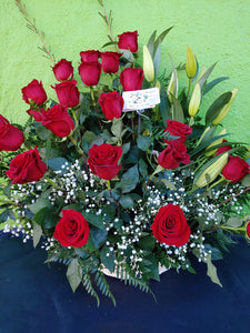V7 -  25 Long Red Rose Stem Basket
