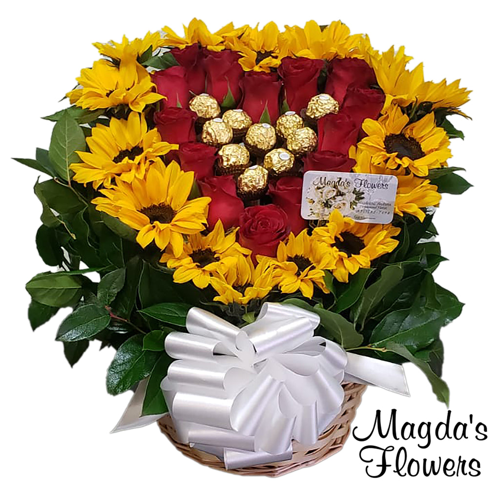 Sunflores, red roses and chocolates floral basket - Magdas Flowers - Order flowers online. Local florist Salinas CA