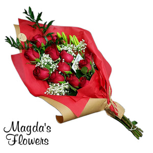 Red Rose Floral Bouqet - Classic Flower designs and more at Magdas Flowers in Salinas