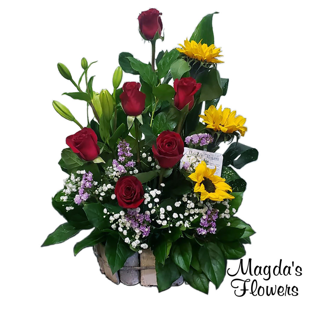Red rose, Sunflower, Lilies floral basket - Magdas Flowers, Salinas Calfornia. Order flowers online today.