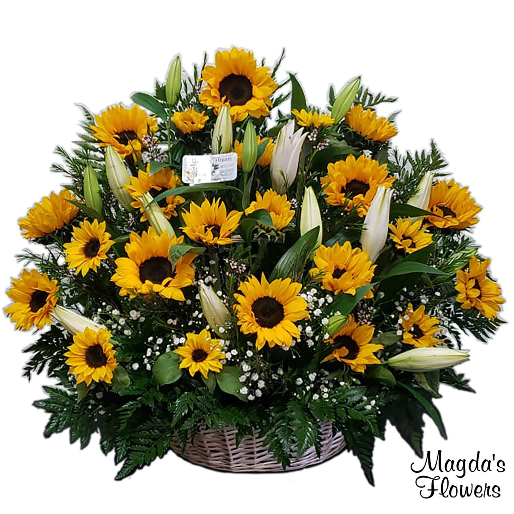 Sunflower & Lilies floral basket - Magdas Flowers - Order flowers online in Salinas, California.