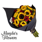 A bold combination of sunflowers and red roses in a delightful presentation creates a stunning bouquet. Order Flowers online in Salinas. Same day delivery!