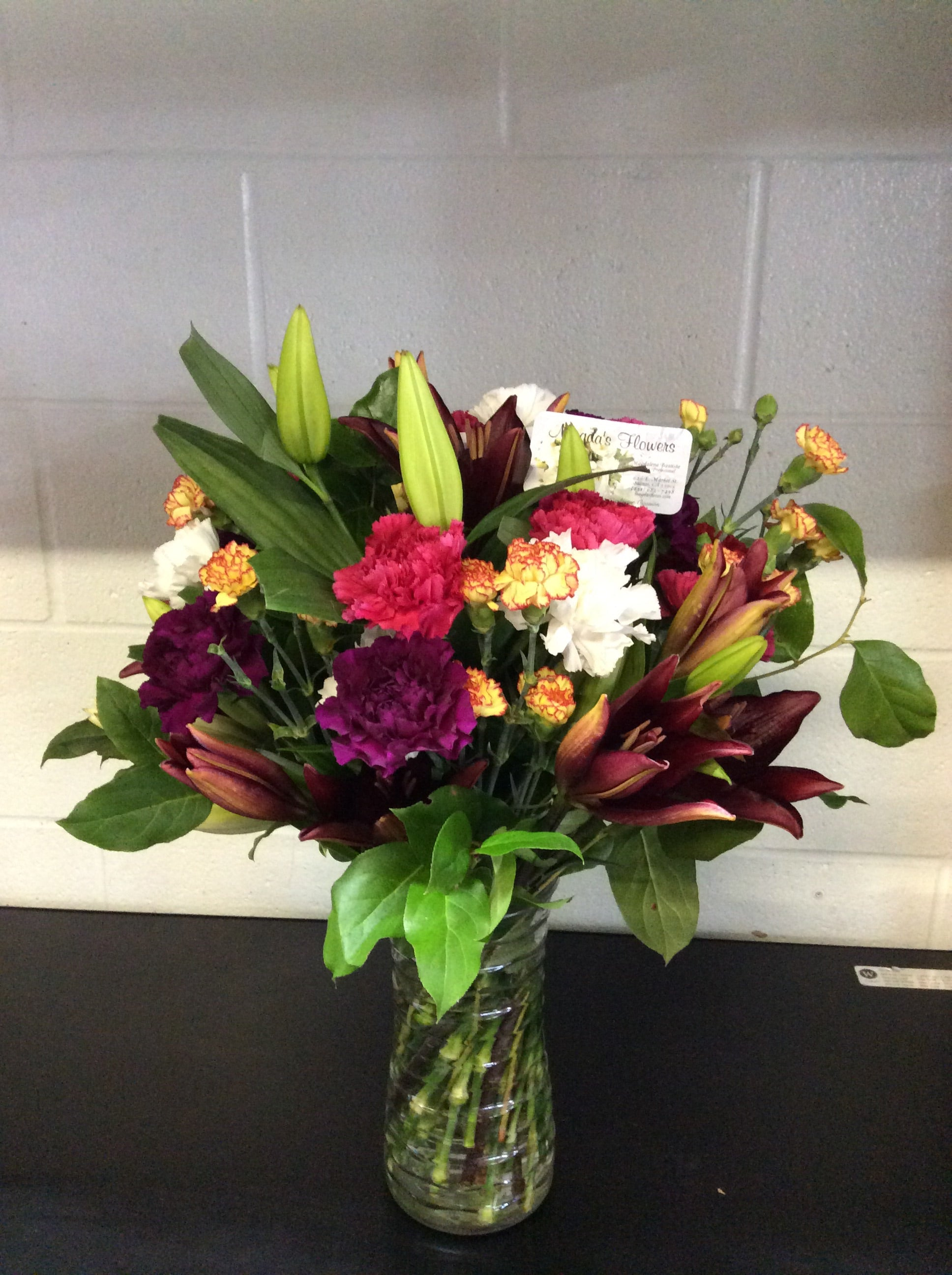 Colorful Floral Vase - Beautiful floral arrangement -  Order Flowers Online - Salinas Florist, Local Delivery - Magda's Flowers