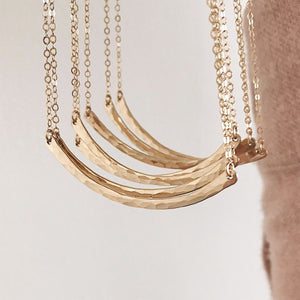 Hammered Crescent Bar Necklace