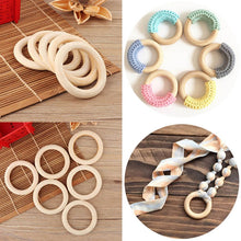 Load image into Gallery viewer, Natural Wooden Baby Teething Rings