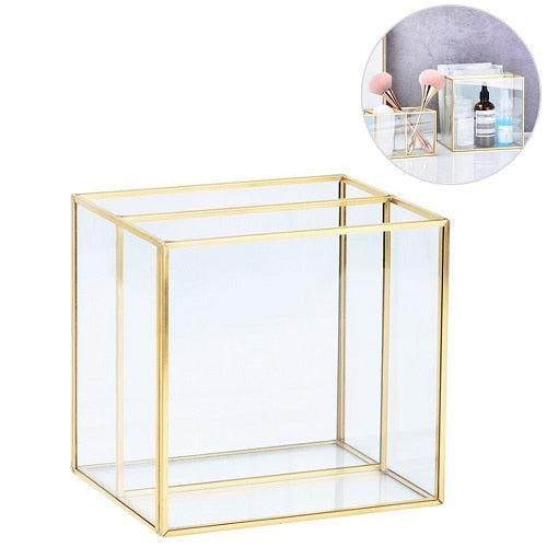 Luxury Clear Glass Makeup Box