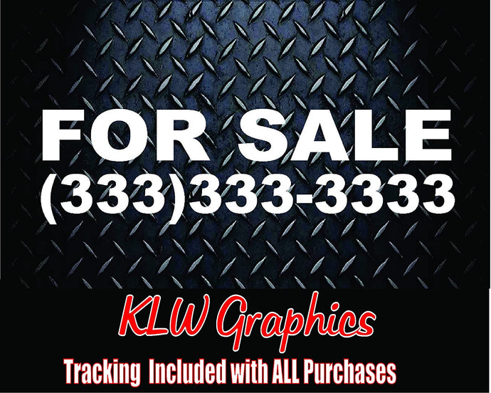For Sale With Custom Phone Number Vinyl Decal Sticker