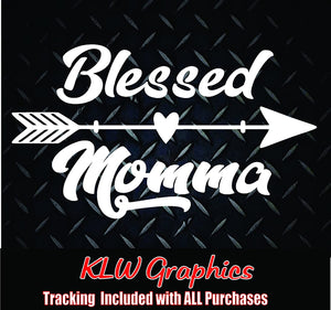 Blessed Momma Arrow Decal