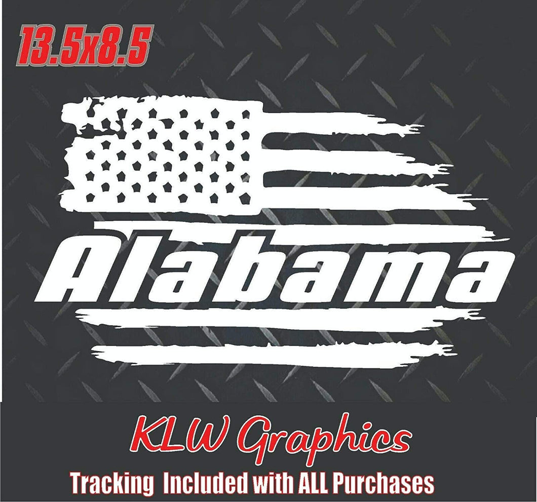 Alabama Distressed U.S. Flag Vinyl Decal Sticker