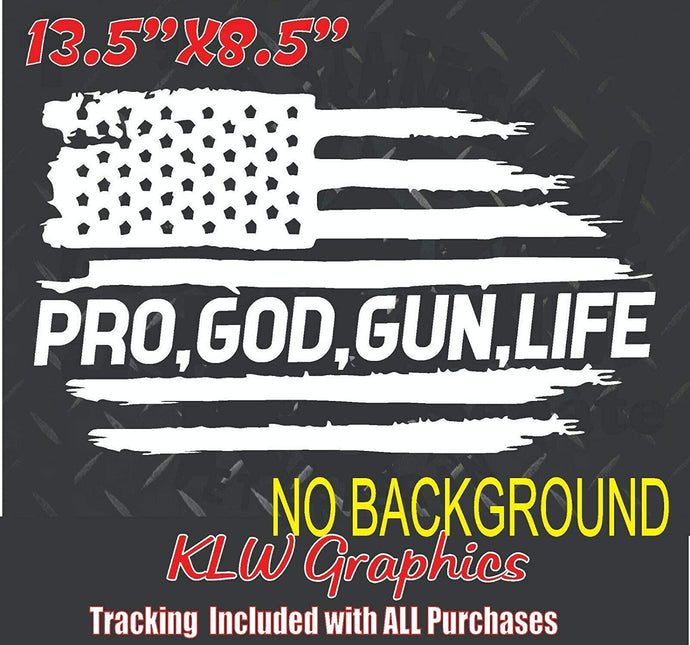 Pro God Gun Life Flag USA Vinyl Decal Sticker