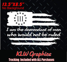 Load image into Gallery viewer, 3% Three Percenter American Flag I Am The Descendant Vinyl Decal Sticker