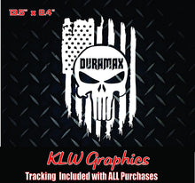 Load image into Gallery viewer, Duramax Skull American Flag Vinyl Decal Sticker