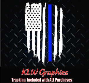 Police Officer American Flag Thin Blue Line Decal