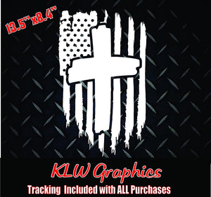 American Flag Cross Decal Sticker