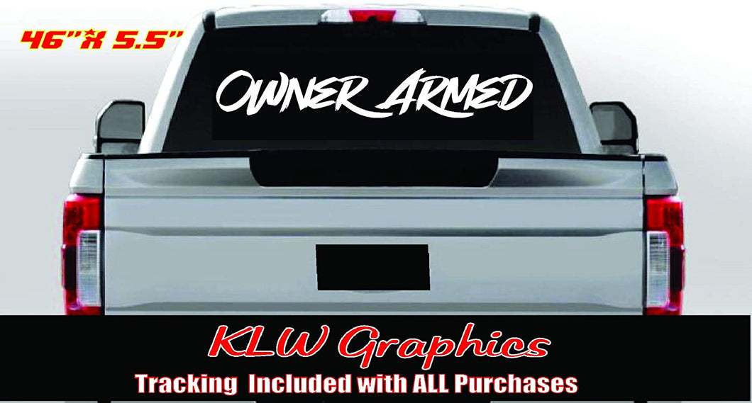 Owner Armed Warning Vinyl Decal Sticker