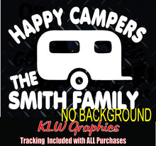 Load image into Gallery viewer, Happy Campers Custom Name Decal Window Bumper Sticker