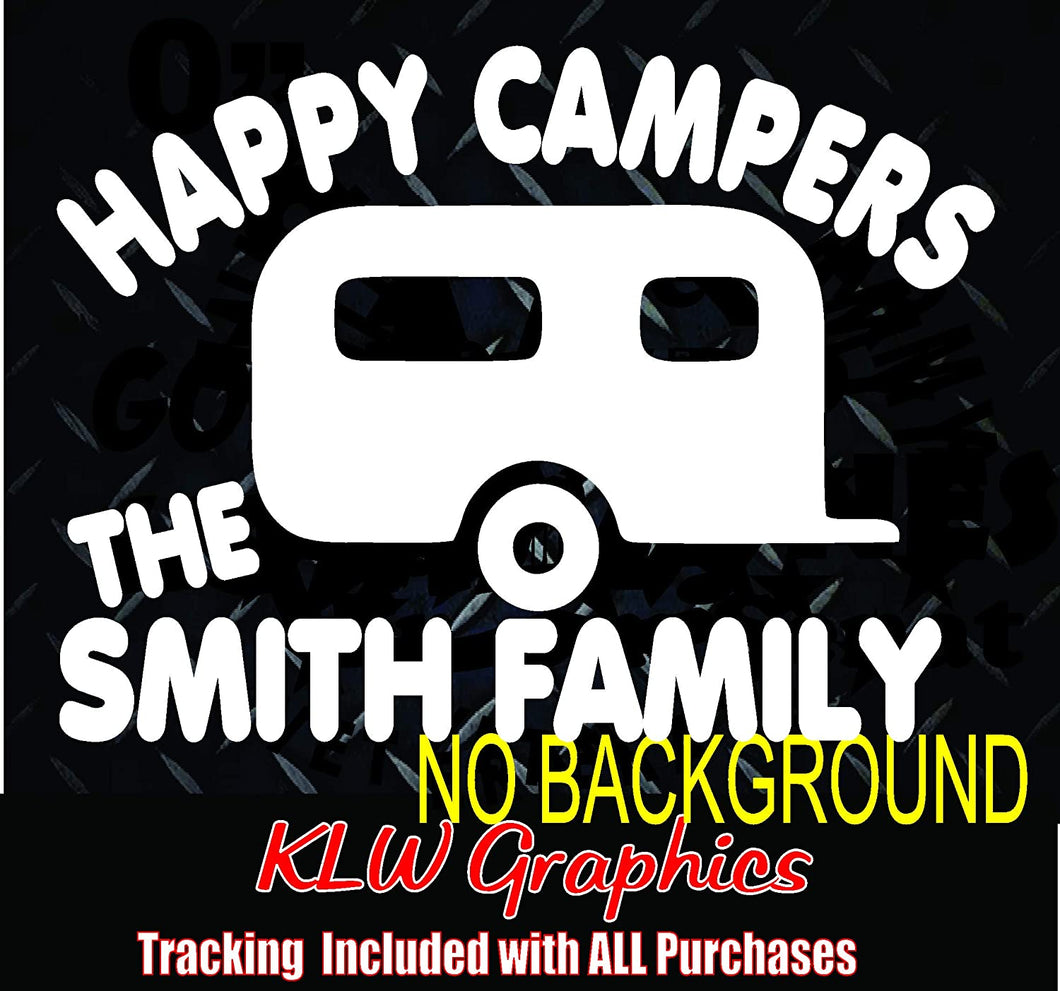 Happy Campers Custom Name Decal Window Bumper Sticker