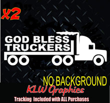 Load image into Gallery viewer, God Bless Truckers Decal Sticker