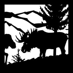 Wildlife #02- 22 X 22 Bull Moose,Cow, Mountians