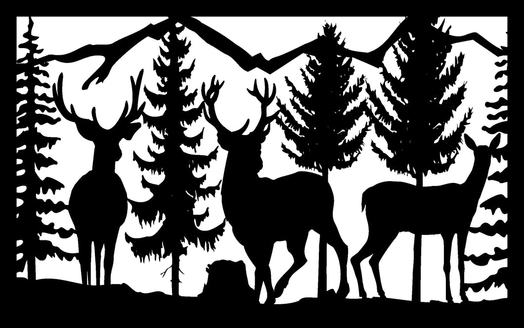 Wildlife #68 - 22 X 36  Three Deer Mountains Trees