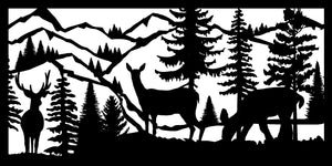 Wildlife #74 - 22 X 44  Buck Two Does Mountains River