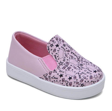 Tênis Infantil Slip On Estampinha Rosa