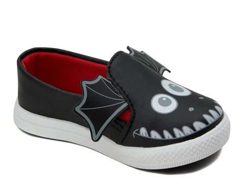 Tênis Infantil Slip On de Monstro Preto