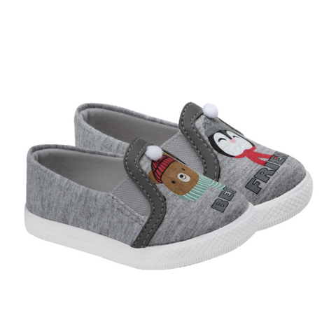 Tênis Infantil Slip On Urso e Pinguim