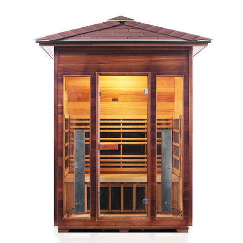 Enlighten Rustic 3 Person Outdoor/Indoor Infrared Sauna - The Hardware Supply