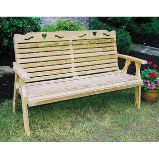 "Creekvine Designs 53"" Treated Pine Crossback with Heart Garden Bench FPB48CBHCVD"