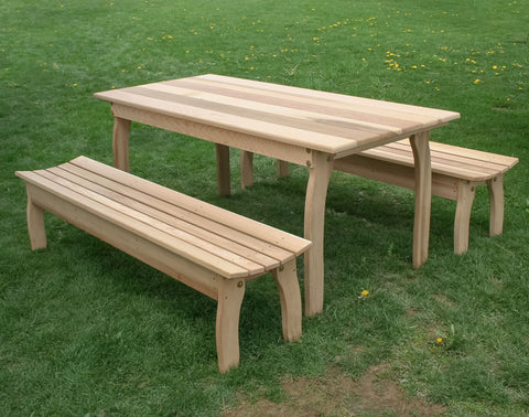 "Creekvine Designs 70"" x 32"" Cedar Three Piece Family Dining Set with (2) 70"" Benches ELY70CTTB-2CVDCVD"