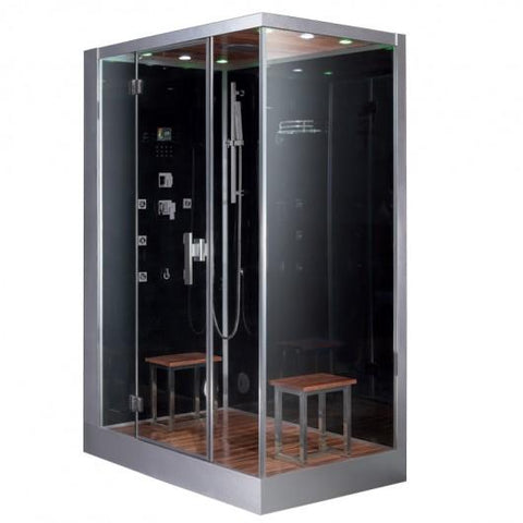 "Platinum Black Steam Shower  59"" x 35.4"" x 89.2"" DZ961F8 (R/L) - The Hardware Supply"