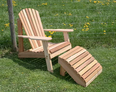 Creekvine Designs Cedar American Forest Adirondack Chair & Footrest Set WRF526200CVD