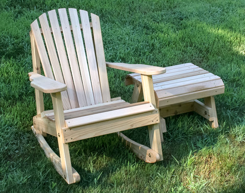 Creekvine Designs Cedar American Forest Adirondack Rocker & Side Table Set WRFKEYRSETCVD