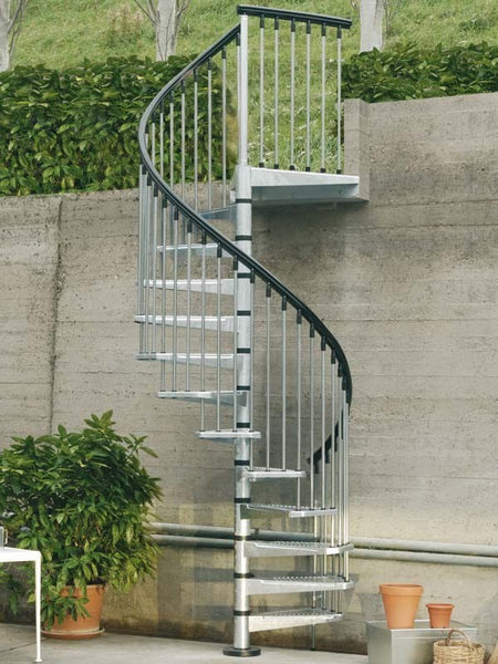 "Arke 63""D Enduro Steel Outdoor Spiral Staircase Kits-Arke Enduro 63 Inch Diameter Spiral Kits - The Hardware Supply"