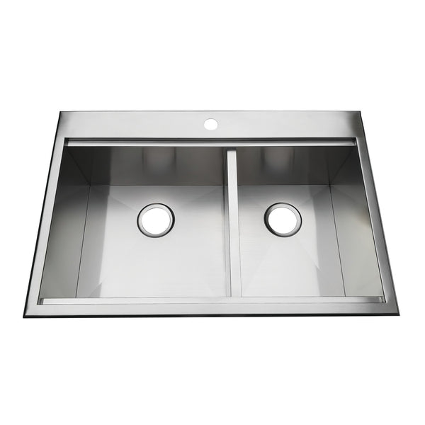 Gourmetier BGKTD3322101DBL 33″ Drop-In Double Bowl 18-Gauge Kitchen Sink 1 Hole-BGKTD3322101DBL - The Hardware Supply