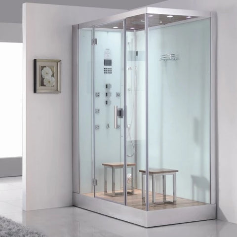 "Platinum White Steam Shower 59"" x 35.4"" x 89.2"" DZ961F8 - The Hardware Supply"