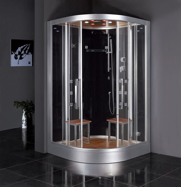 "Platinum Black Steam Shower 47"" x 47"" x 89"" DZ962F8 - The Hardware Supply"
