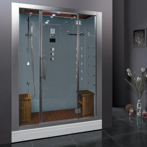"Platinum White Steam Shower 59"" x 32"" x 87"" DZ972F8 - The Hardware Supply"