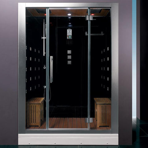 "Platinum Black Steam Shower 59"" x 32"" x 87"" DZ972F8 - The Hardware Supply"