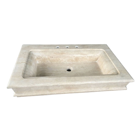 Fauceture EVS36226T 36-Inch X 22-Inch X 6-Inch Travertine Stone Vessel Sink 3H, Beige Travertine-EVS36226T - The Hardware Supply