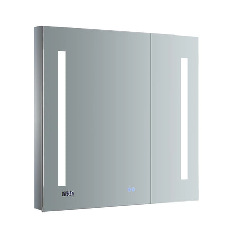 "Fresca Tiempo Bathroom Medicine Cabinet with LED Lighting & Defogger 30"" x 30"" x 5"" FMC013030 - The Hardware Supply"