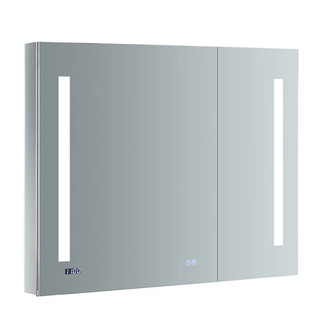 "Fresca Tiempo 36"" Wide x 30"" Tall Bathroom Medicine Cabinet w/ LED Lighting & Defogger-FMC013630 - The Hardware Supply"