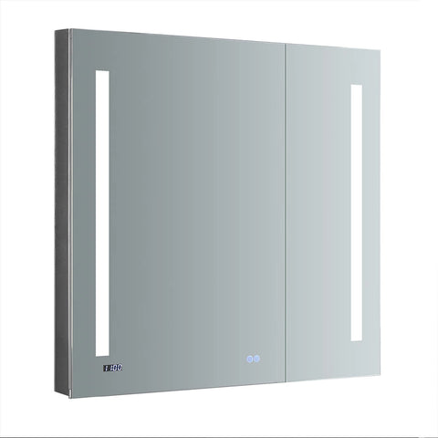 "Fresca Tiempo 36"" Wide x 36"" Tall Bathroom Medicine Cabinet w/ LED Lighting & Defogger-FMC013636 - The Hardware Supply"