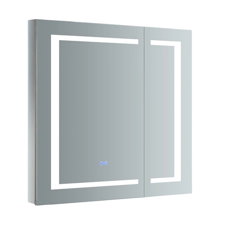 "Fresca Spazio Bathroom Medicine Cabinet with LED Lighting & Defogger 30"" x 30"" x 5"" FMC023030 - The Hardware Supply"