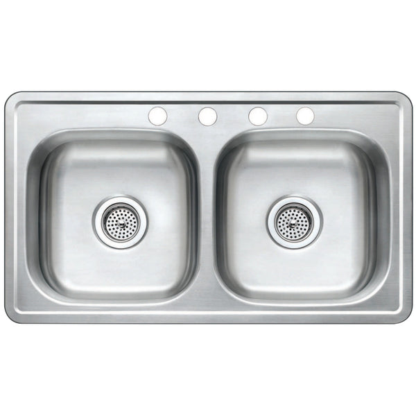 Gourmetier GKTD33197 Drop-in Double Bowl Kitchen Sink, Brushed-GKTD33197 - The Hardware Supply