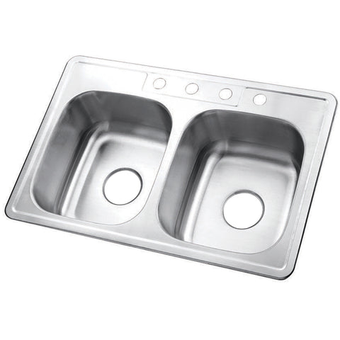 Gourmetier GKTD33226 Drop-in Double Bowl Kitchen Sink, Brushed-GKTD33226 - The Hardware Supply